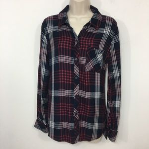 Rails plaid button down blouse top red white blue